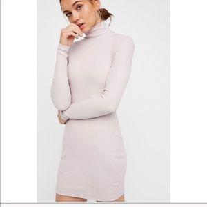 Free People Mock Neck Ribbed Mini Dress